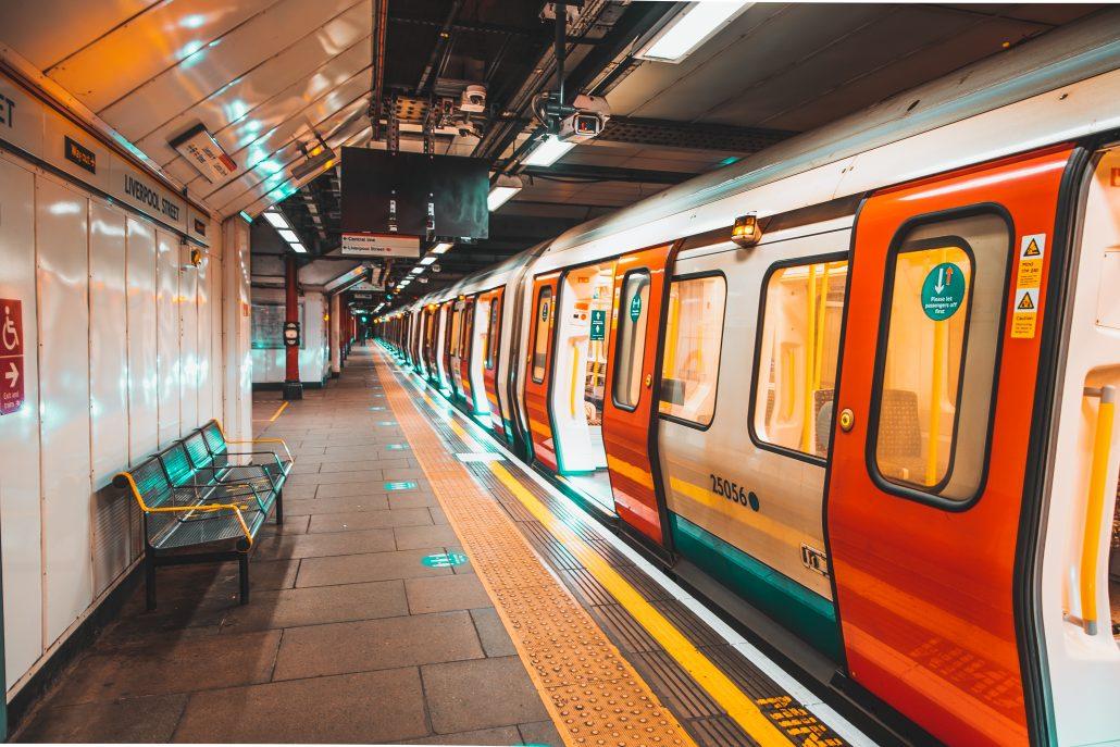 London,Uk,January,2021,Underground,Tube,Metro,Train,Stopped,On